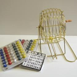 Bingo Cage Brass Coated Set