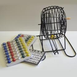 Bingo Cage Plastic Coated- Includes Masterboard Balls & 18 Cards