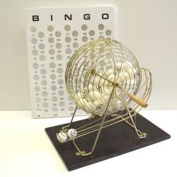 Bingo Cage-Table Tennis- Wood Base with 38mm balls 1-75