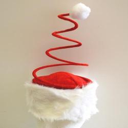 Santa Hat With Coil Spring-Red/White