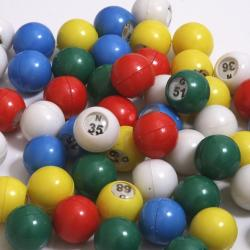 Bingo Ball- Small 5 Color With Clear Cover Over Each Number Hard Plastic-75