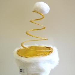 Coil Hat- Metallic Gold And White