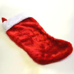 Deluxe Large Red Plush Christmas Stocking- 19 Inch- High Pile Plush Material