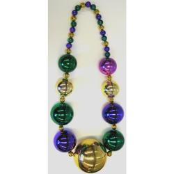 Jumbo Ball Bead- Purple/ Gold/ Green