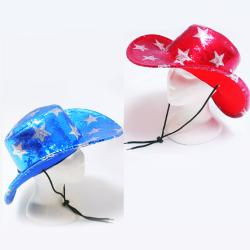 Cowboy Hat- Sequin Star- Red/Blue