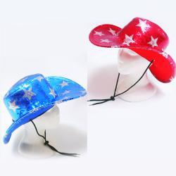Cowboy Hat- Sequin Star- Red/Blue