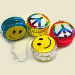 Lightup Yo-Yo w/ Smile and Peace Designs-  1 Dozen Display Box