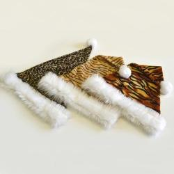 Plush Animal Print Santa Hat
