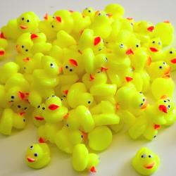 Mini Yellow Ducks- 3/4 Inch- Plastic- 100 Pieces Per Display Tub