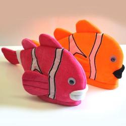 Clown Fish Hat- Pink And Orange Asst- Adult Size