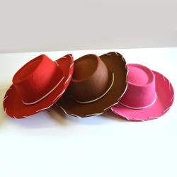 Cowboy Hat- Childrens Size W/ White- 3 Asst Colors