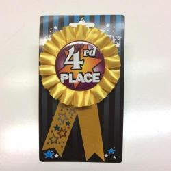 Ribbon W/Rosette- 4th Place- Carded