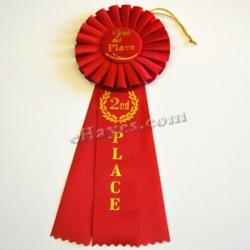 Competition Rosette- 2nd Place- Red- 10.5 Inches Long