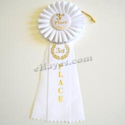 Competition Rosette- 3rd Place- White- 10.5 Inches Long