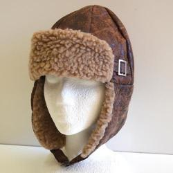 Aviator Cap- Brown W/Buckle- Adult Size