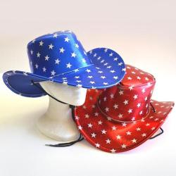 Shiny Star Cowboy Hat- Red/Blue Asst- Adult Size