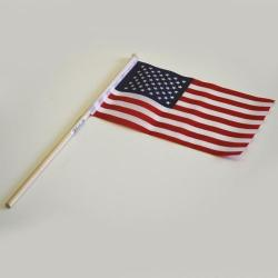 4X6 Inch USA Flag On Wooden Stick- Cloth Material