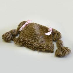 The Lilly Hat- Woven Yarn Hair Hat- Brown- Larger Kids Size