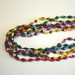 Diamond Twist Bead- 33 Inch- 6 Asst Colors- 6 Per Card