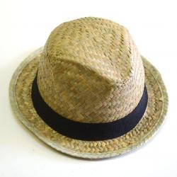 Straw Fedora Hat w/Band