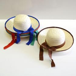 Ladies Straw Hat- w/Ribbon- 5 Asst Colored Ribbons