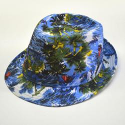 Tropical Print Fedora- Blue Material with Assorted Ocean Designs