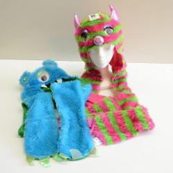 Kid's Size Furry Monster Hat w/Long Arms and Pockets- 2 Assorted- Pink/Green and Blue/Green