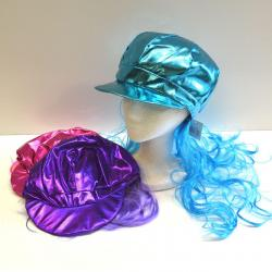 Shiny Gogo Cap w/Wig Hair- 3 Asst Colors, Pink, Blue and Purple