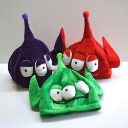 Three Eyed Alien Hat- 3 Asst Colors- Green, Purple and Red