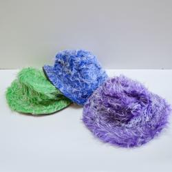 Furry Top Hat- High Pile Plush- Purple, Green and Blue Assorted