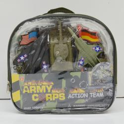 Military Playset in Backpack- 100 Piece- Planes, Tank, Flags, Bases, Battlefield and 3 Inch Army Men