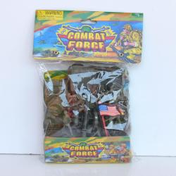 "Military Playset- 40 Pieces- Tanks, Trucks, Flags, Bases and 3"" Army Men- Poly Bagged w/Header"