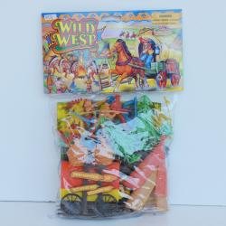 "Wild West Playset- 36 Pieces- Wagon, Trees, Teepees, Play Mat and 3"" Figurines- Poly Bagged w/Header"