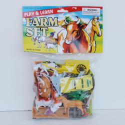 Farm Playset- 36 Pieces- Trucks, Plows, Trees, Farm Animals, Mat, Trough and More- Poly Bagged with Header