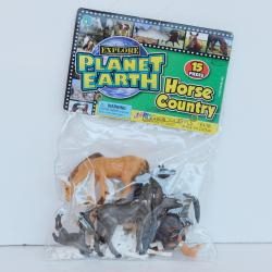 "Horse Assortment-15 Piece- 2"" to 4"" Horses with Fence- Poly Bagged w/Header Card"