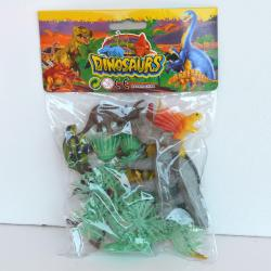 "Dinosaur Assortment- 15 Pieces- 3-4"" Dinosaurs, Trees and Plants- Poly Bagged with Header Card"