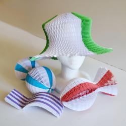 Unfolding Paper Hat- 4 Asst Colors- Red/White, Blue/White, Green/White, Purple/White