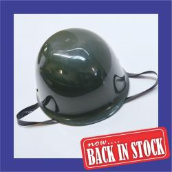 Green Plastic Army Helmet with Chin Strap- Each Packed in Black Mesh Bag