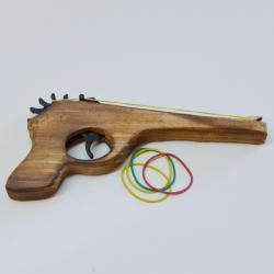 Rubber Band Gun- Wooden w/ Rubber Bands