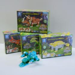 Block Assembly Toy Set- Large 50+ Piece Dinosaur Set- 8 Piece Display