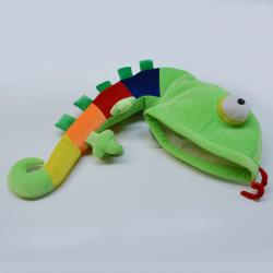 Lizard Hat- Green w/ Rainbow Tail