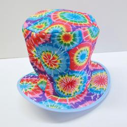 Rainbow Tie Dye Top Hat- Wire Brimmed