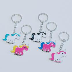 Painted Metal Unicorn Keychain- Each on Header Card