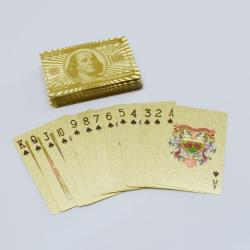 Gold Foil Playing Cards- $100 Bill Design- 10 Pieces in a Shiny Gold Box
