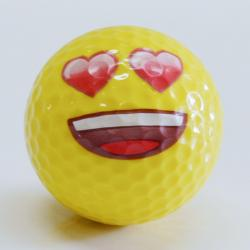 17583 - Heart Eye Emoji Golf Ball