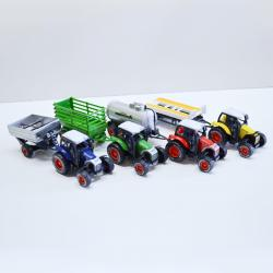 17596 - Large Die Cast Farm Tractor w/Trailer- Pull Back- Assorted Designs/Colors