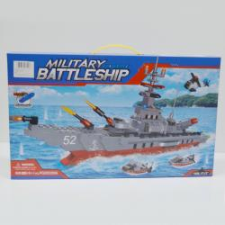 Block Assembly Toy Gift Set- Giant Military Battleship- 700+ Pieces