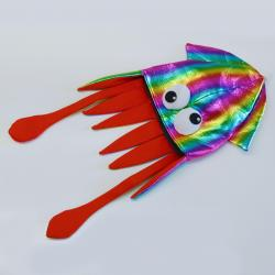 Shiny Material Rainbow Squid Hat w/Plush Eyes- 28 Inch- Adult Size