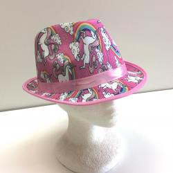Unicorn Fedora- Structured Pink Hat w/Unicorn Print- Adult Size
