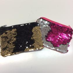 Reversible Sequin Coin Purse w/Keychain- 4.5 X 3 Inches